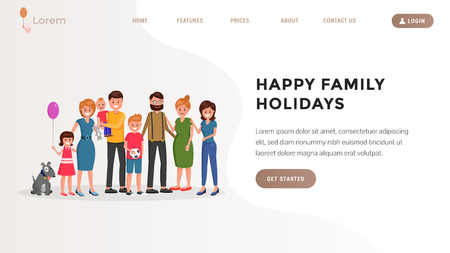 Website template of cheerful cartoon couple standing and smiling with relatives children and grandchildren vector illustration. Happiness of parenting concept. Place for text