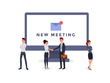 Business people men and women standing and shaking hands near big monitor vector illustration. New meeting concept.