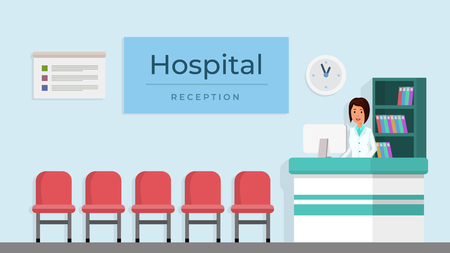 Hospital reception with woman flat style vector illustration. Medical clinic reception interior with furniture. American woman receptionist