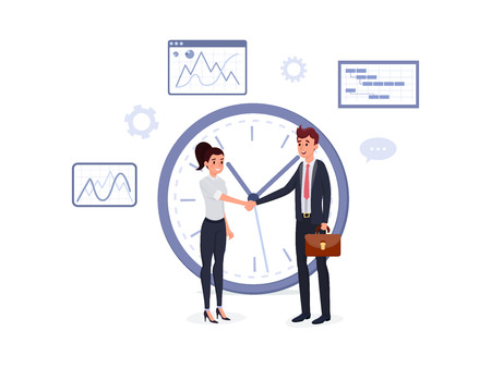 Smiling man in suit with briefcase and woman shaking hands near big clock vector illustration. Bargaining concept. Graphs charts diagrams on background