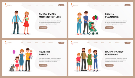 Composition consist of webpage template enjoy every moment of life, child planning, healthy family, happy vacation vector illustration. People standing and smiling with relatives. Place for text