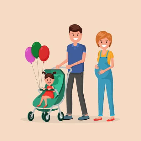 Mother and father with newborn daughter in baby carriage flat style vector illustration