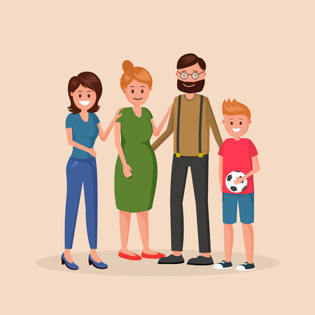 Madre y padre de pie con dos hijos de diferentes edades, niño menor y niña mayor, ilustración vectorial aislada sobre fondo claro