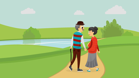 Happy old cute loving couple walking in the park flat style vector illustration