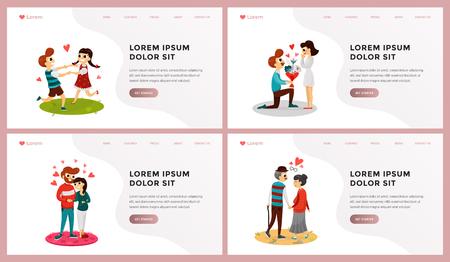 Conjunto de personas de plantilla de página web de diferentes edades abrumadas en la ilustración de vector de hermosos sentimientos. Historia del desarrollo de relaciones. Lugar para el texto