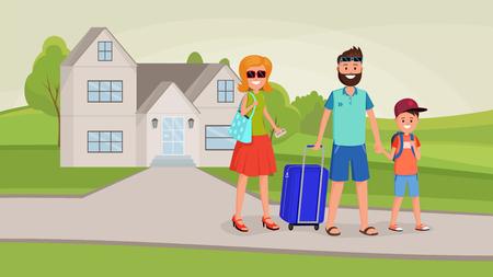 Familie, die in den Urlaub im flachen Stil-Vektor-Illustration geht