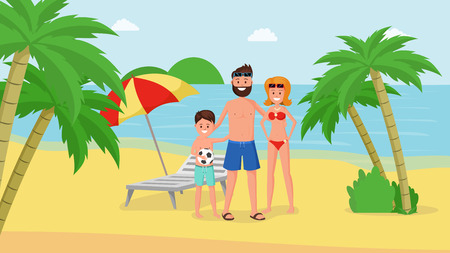Lovely cartoon parents with child having happy family vacation vector illustration. Mother father and son on gold beach. Seashore with palm trees landscape Banque d'images - 124318162