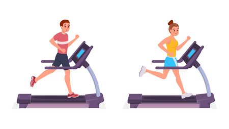 Smiling cartoon man and woman running on treadmill flat style vector illustration isolated on white background