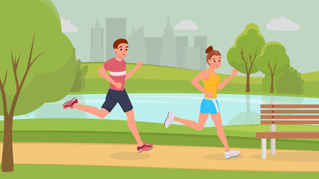 Lovely smiling sports couple on morning running in park stronger vector illustration. Man and woman in light sportswear and sneakers to get in shape. Become healthier and. Urban landscape