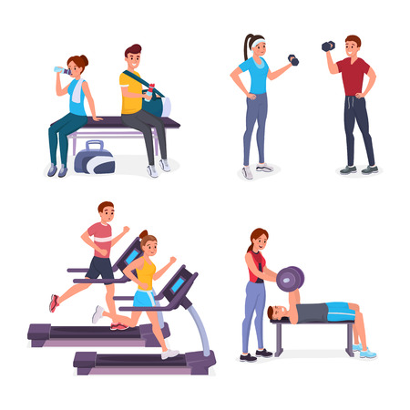 Sport set. Joyful smiling men and women doing sports in the gym vector illustration. Boys and girls practicing on treadmill, pumping muscles with dumbbells, do strength exercises. Isolated on white