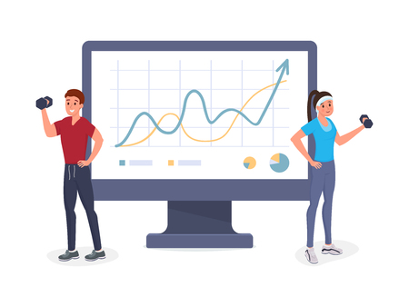 Two sports people having workout vector illustration. Man and woman lifting weights and dumbbells getting in shape. Smiling athletes near big computer monitor with graphs. Isolated on white