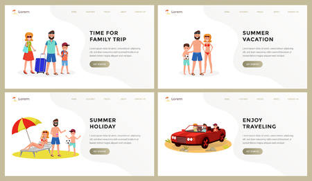 Composition consist of webpage template time for family trip, vacation, holiday, enjoy travelling vector illustration. People relaxing on beach or arriving to destination. Place for text