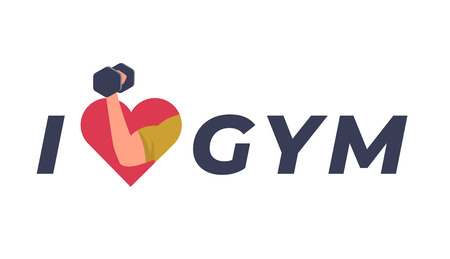 I love the gym concept. Dumbbell in hand in red heart. Sport inscription flat style vector illustration isolated on white Çizim