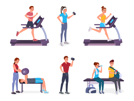 Set of people in gym flat style vector illustration isolated on white background. Man and women fitness Stock Illustratie