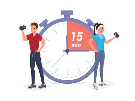 Los deportistas se paran en un gran cronómetro y se ejercitan en la ilustración de vector de estilo plano. Planificación de la línea de tiempo de fitness, horario, flujo de trabajo
