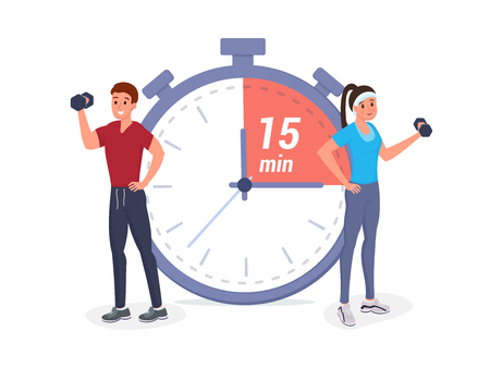 Sports people stand at a big stopwatch and having working out flat style vector illustration. Fitness timeline planning, schedule, workflow Illusztráció