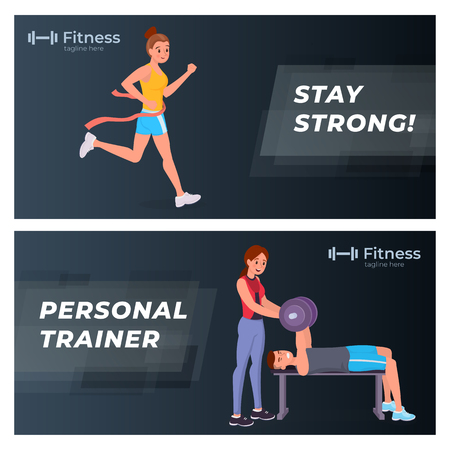Fitness and sports banners flat set