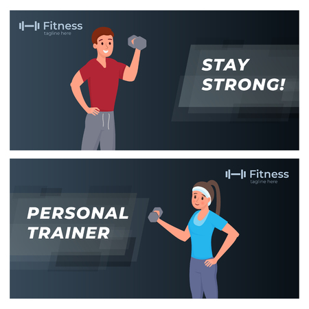 Sport and fitness banners stay strong, personal trainer. Flat style vector illustration with dark background