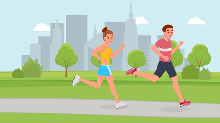 Smiling sports couple running in park flat style vector illustration Ilustração