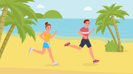 Smiling jogging couple happy running on the beach flat style vector illustration