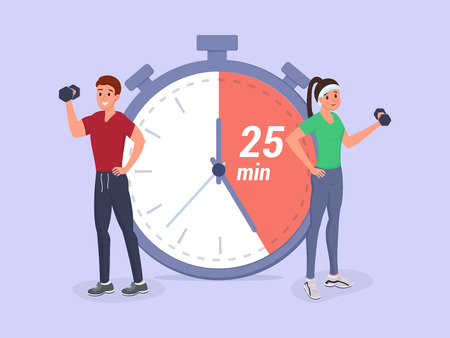 Man and woman stand near big stopwatch and having working out flat style vector illustration. Fitness timeline planning, schedule, workflow 矢量图像
