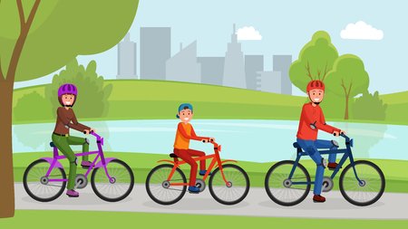 Lovely smiling parents with small son cycling vector illustration. Mother father and kid in safety helmets and sportswear. Active lifestyle concept. Urban landscape Illustration