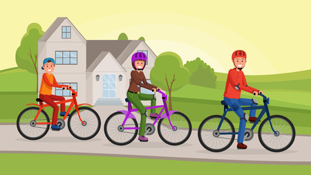 Family on bicycles near house. Lifestyle concept