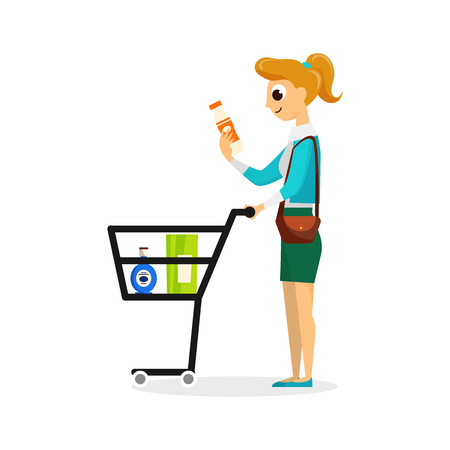 Woman with full supermarket shopping cart flat style vector illustration isolated on white background