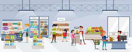 Men and women walking in store and buying natural fresh products in different supermarket departments. Store shelves full of nutrtious foods and beverages vector illustration