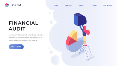 Financial audit landing page concept flat isometric vector illustration. Woman standing on ladder and holds a piece of pie chart
