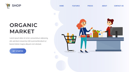 Website template with woman standing at cash desk near cashier in supermarket flat design vector illustration. Female buying beverages and food. Organic store interior