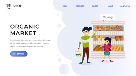 Website template with family choosing goods in supermarket flat vector illustration