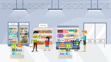People buying food and drink in supermarket flat vector illustration