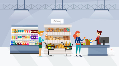 Supermarket interior with people flat vector illustration. Retail woman cashier at checkout supermarket