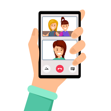 Video call, girlfriends talk vector illustration. Hand holding smartphone with smiling women on screen, video conference. Social communication network, internet technology, distance conversation