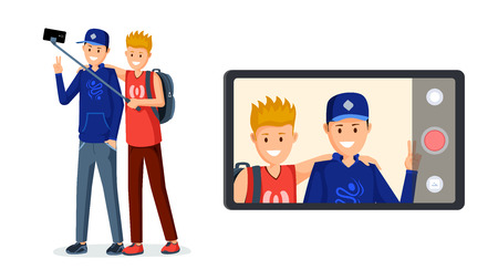 Teenagers recording video message illustration. Smiling friends, streamers, bloggers on smartphone display cartoon characters. Young guys streaming live, blogging business isolated flat design