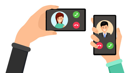 Incoming phone call interface vector illustration. Hands holding smartphones with caller photo. UI with buttons and avatars, decline or answer alternative, communication technology flat design