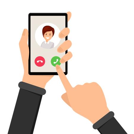 Appel entrant, illustration vectorielle de téléphone qui sonne. Main tenant le smartphone et le doigt pointant sur le bouton de réponse. Interface d'option, alternative sur l'écran du téléphone, accepter ou refuser le choix