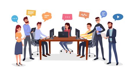 Team brainstorm, idea generation flat illustration