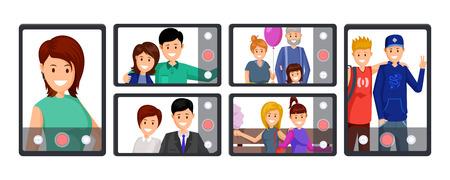 Videollamada grupal, ilustración vectorial de conferencia. Personas que toman autofotos, graban videos, transmiten personajes de dibujos animados en vivo. Comunicación en línea, tecnología móvil, conjunto de cliparts de negocios de blogs.
