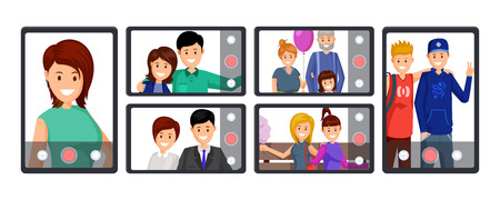 Group video call, conference vector illustration. People taking selfie, recording video, streaming live cartoon characters. Online communication, mobile technology, blogging business cliparts set