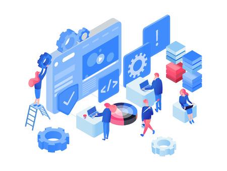 Logiciel, illustration vectorielle isométrique de développement web. Programmeurs, développeurs, codage de personnages, travail d'équipe, collaboration avec des cliparts 3D. App, élément de conception isolé du processus d'optimisation de site Web Vecteurs