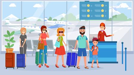 Pasajeros en la ilustración de la cola de la terminal del aeropuerto. Personajes de dibujos animados con equipaje esperando en la sala de embarque. Control de pasaportes, documentos, boletos, tarjeta de embarque que verifica el dibujo vectorial plano