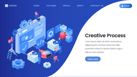 Creative process landing page isometric template Vector Illustration