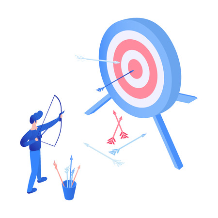Archery sport isometric vector illustration. Target advertising, marketing campaign, sport competition, goal achieving concept. Archer, bowman, marketer with bow and arrows isolated flat character