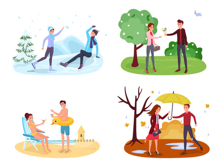 Seasonal outdoor activities vector illustrations set. Winter games, spring landscape, summer holiday vacation, autumn rain. Man and woman playing snowballs, strolling in park, sunbathing cliparts pack