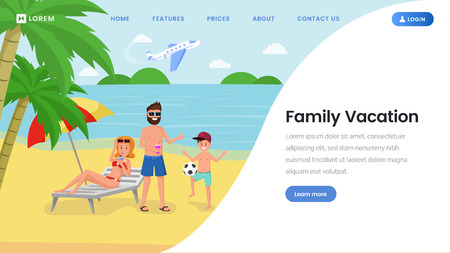 Family vacation landing page vector template. Travel agency, tour operator, international airlines website homepage layout. Parents with kid at exotic sea resort, tropical island beach illustration