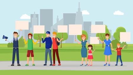 Street protest flat vector illustration. City nature saving, human rights protection, meeting, strike, social movement. Activists, protesters, participants in urban park with empty placards in hands Illustration
