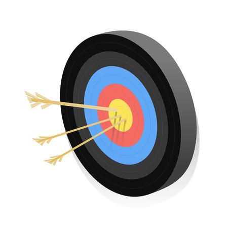 Dartboards with arrows isometric vector illustration Çizim