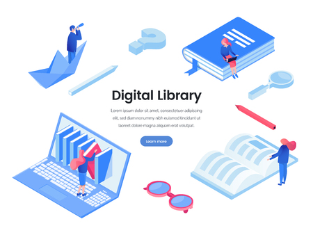 Digital library web banner vector template
